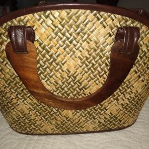 Handbags - Double Handle Rattan Purse